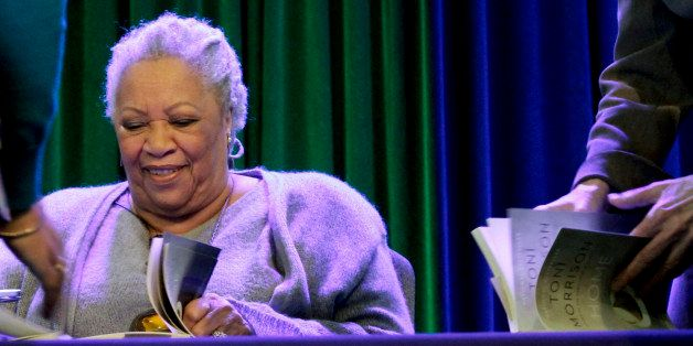 "Author Toni Morrison signs copies of her latest book ""Home,"" during Google's online program series, Authors At Google, on Wed"
