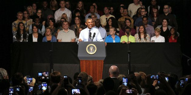 President Barack Obama speaks at Macomb County Community College Wednesday, Sept. 9, 2015, in Warren, Mich. Obama announces n