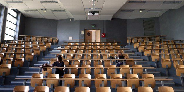 Students in Law wait for a meeting on their first day of classes after the summer break, at the university of the French nort
