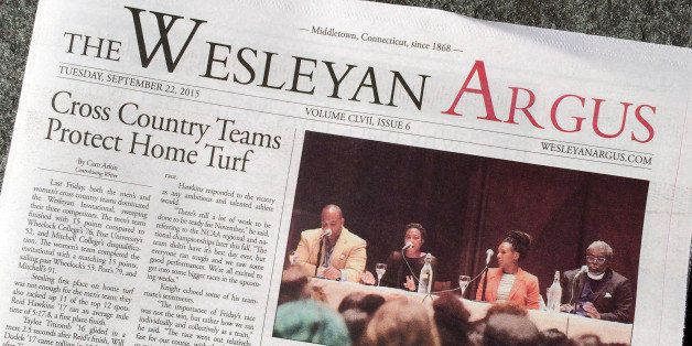 The Wesleyan Argus student newspaper is displayed Thursday, Sept. 24, 2015, on the campus of Wesleyan University in Middletown, Conn. The student government for the liberal arts school is weighing a petition to strip The Argus of funding after some objected to an opinion piece it published on the Black Lives Matter movement. (AP Photo/Michael Melia)