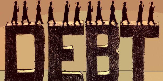 Graduate students walking across the word debt