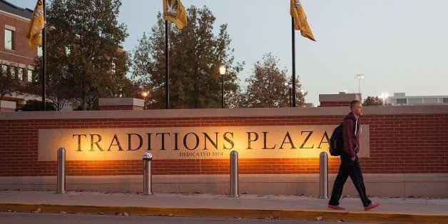 COLUMBIA, MO - NOVEMBER 10: A student makes his way across the campus of University of Missouri - Columbia on November 10, 20
