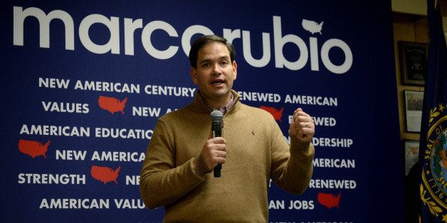 FRANKLIN, NH - DECEMBER 23: Republican Presidential candidate Marco Rubio speaks at a pancake breakfast at the Franklin VFW D