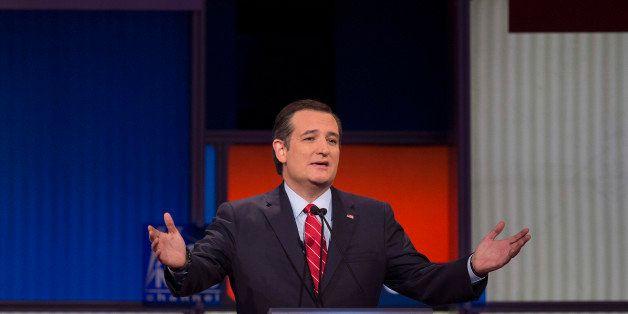 CORRECTION - Republican Presidential candidate Texas Senator Ted Cruz speaks during the Republican Presidential debate sponso
