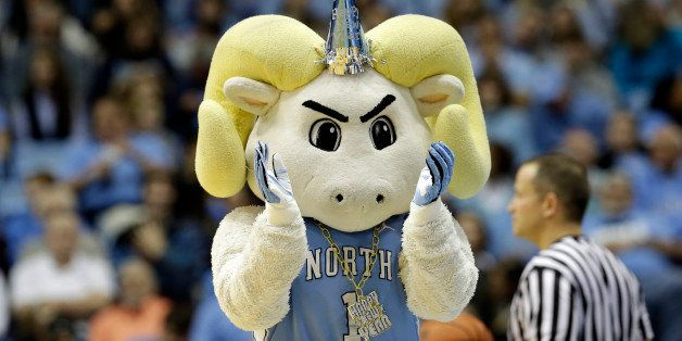 North Carolina's mascot applauds during the second half of an NCAA college basketball game against  UNC Wilmington in Chapel