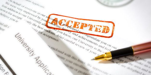 An acceptance letter from a university application. An university application form together with the letter of acceptance wit