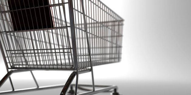 A backlit shopping trolley. 3D render with HDRI lighting and raytraced textures.