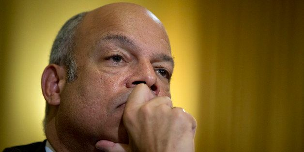 Jeh Johnson, U.S. secretary of Homeland Security (DHS), listens during a House Homeland Security Committee hearing in Washing