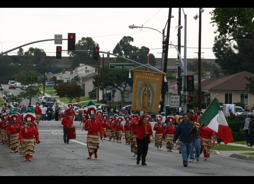 An annual Los Angeles procession in honor of Our Lady of Guadalupe draws thousands of worshipers, some in Indian attire carry