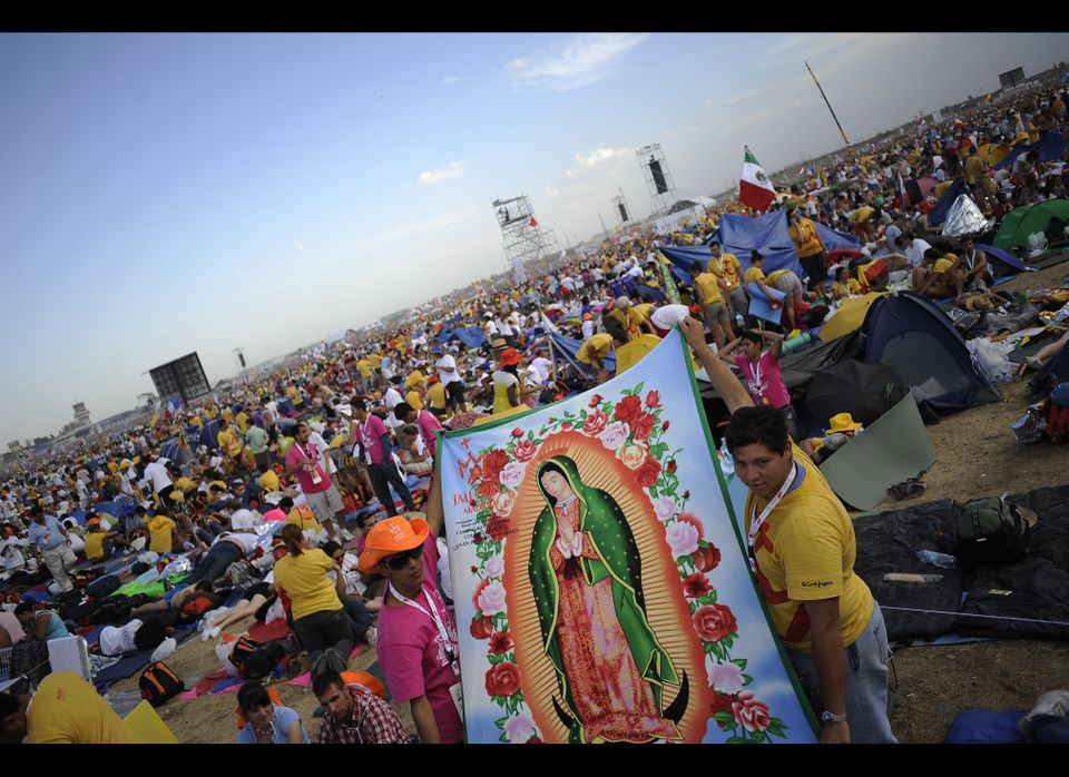 A banner with the image of Our Lady of Guadalupe is displayed during the annual pilgrimage to her shrine on a hilltop on the