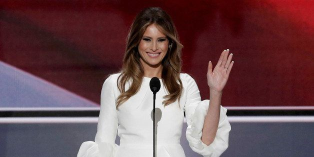 Melania Trump, wife of Republican U.S. presidential candidate Donald Trump, waves as she arrives to speak at the Republican N