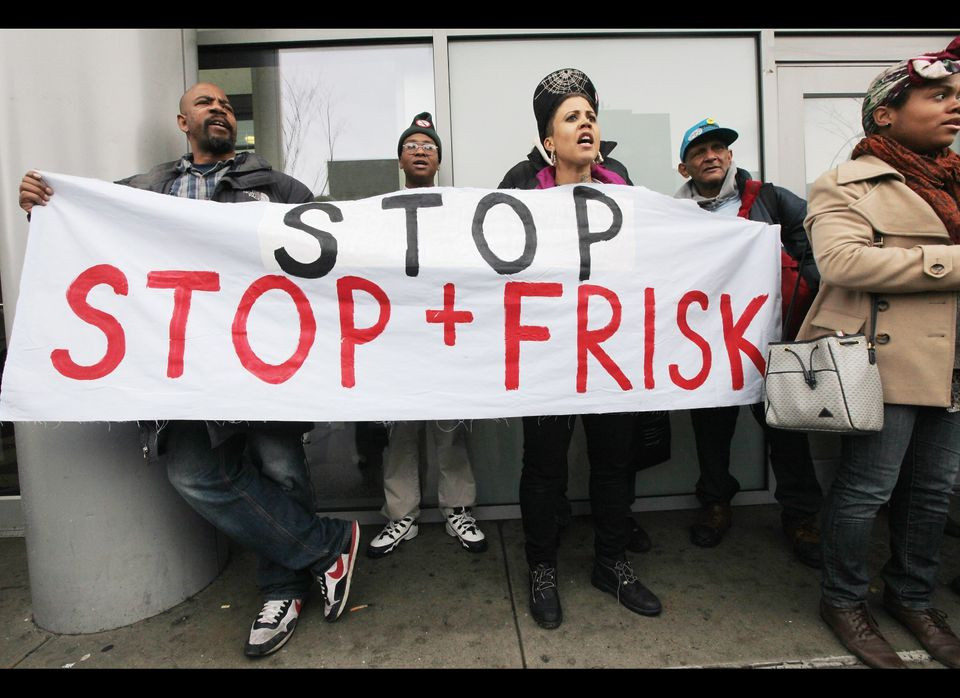 NEW YORK, NY - JANUARY 27:  Opponents of the New York Police Department's controversial 'stop-and-frisk' policy rally on Janu