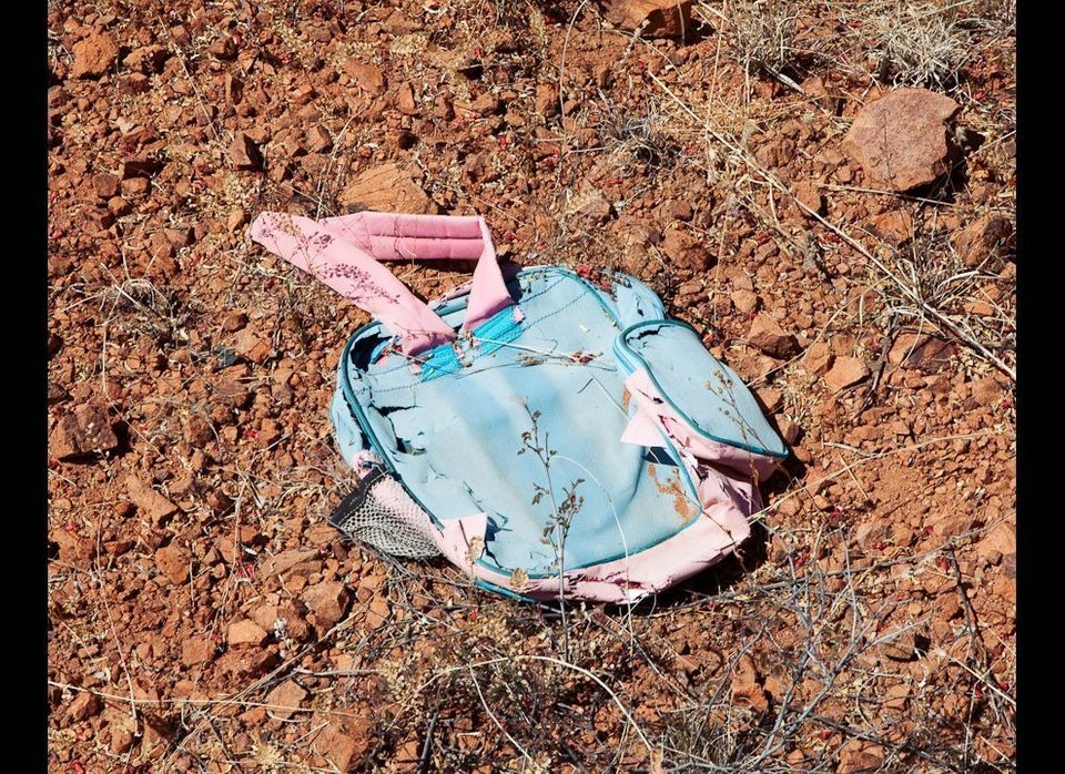 A child's backpack recovered in the Sonoran Desert of Arizona. Photo taken near Arivaca road, AZ. Credit: Michael Wells, mwel