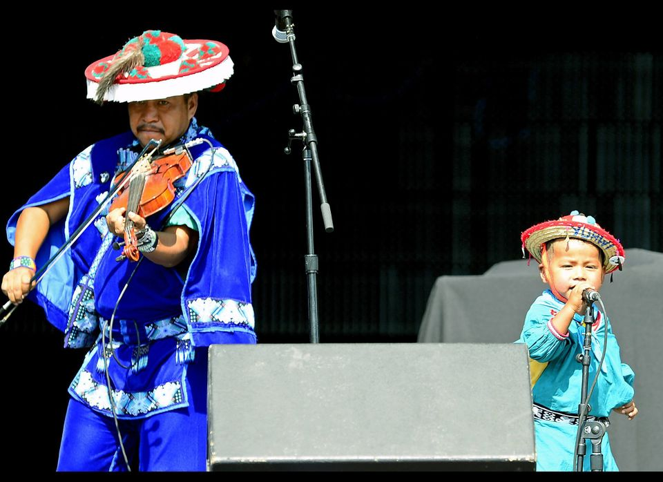 Mexican indigenous Huichol group Venado Azul (Blue Deer) perform during the Wirikuta Fest at the Foro Sol in Mexico City on M