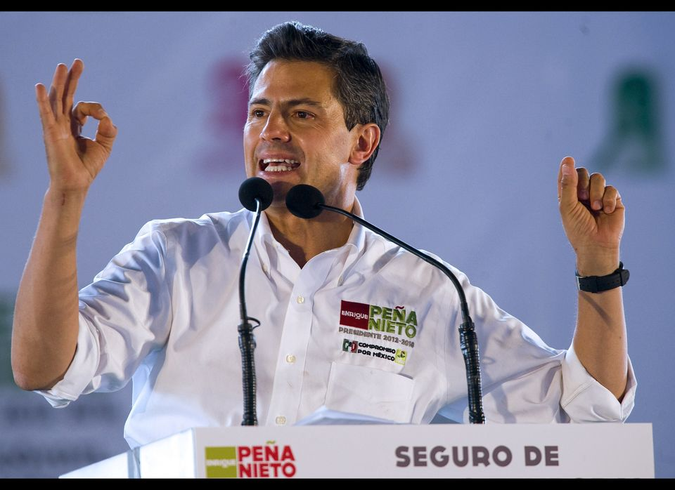 Mexican presidential candidate for the Institutional Revolutionary Party (PRI), Enrique Pena Nieto, speaks during a rally in