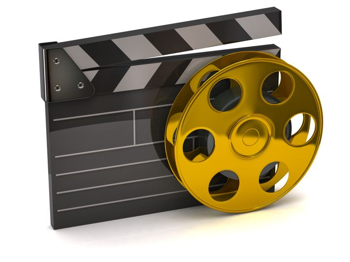 movie clapper board and golden...