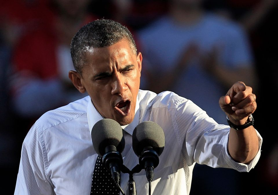In this Oct. 9, 2012 file photo, an impassioned President Barack Obama shows off his macho bravado at the Ohio State Universi