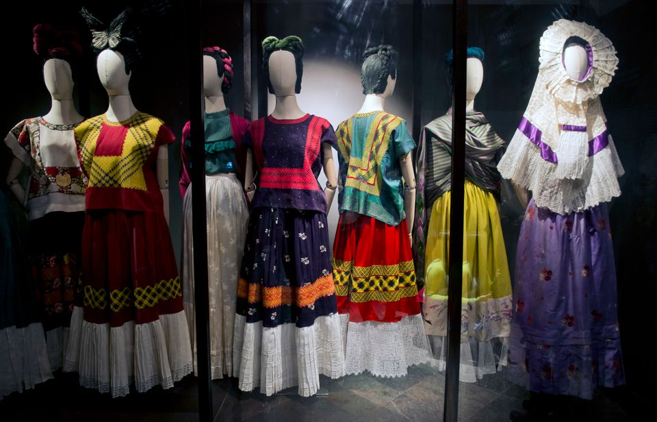 Regional Tehuana dresses, including a huipil and a skirt, used by Mexican painter Frida Khalo are exhibited at her museum in