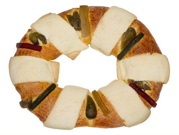 Traditionally baked round as an allusion to a King's crown, the Rosca de Reyes (or Kings' Bread) is a staple of the holiday.