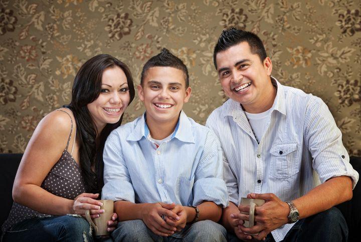 joyful native american family...