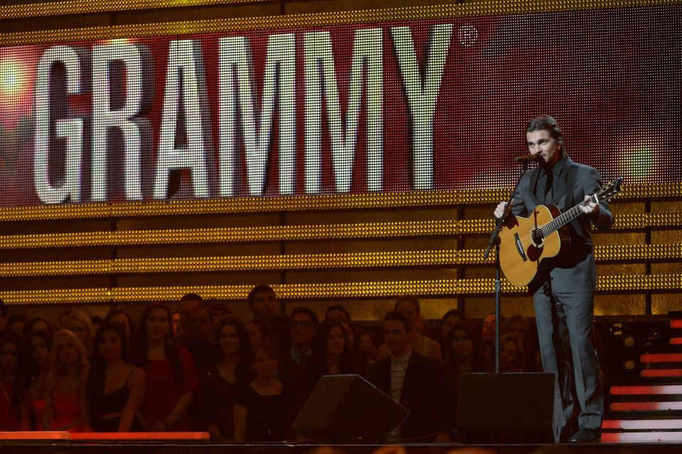 Colombian star Juanes performs on stage at the Staples Center during the 55th Grammy Awards in Los Angeles, California, Febru
