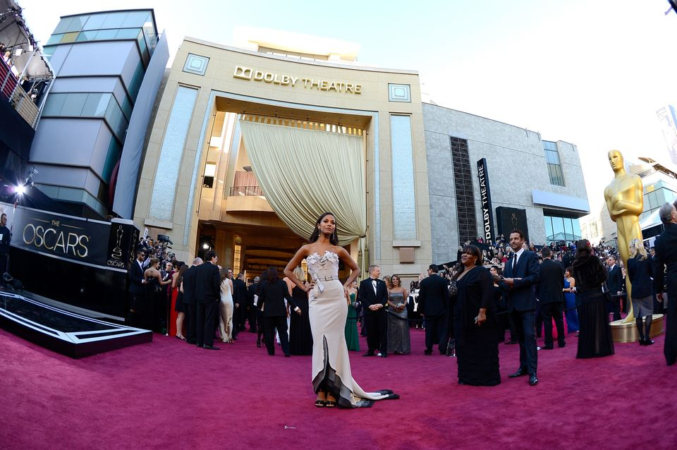Actress Zoe Saldana arrives at the Oscars at Hollywood & Highland Center on February 24, 2013 in Hollywood, California.  (Pho