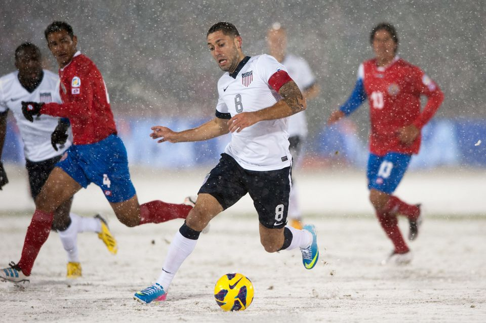 COMMERCE CITY, CO - MARCH 22:  Midfielder Clint Dempsey #8 of the United States dribbles the ball during a FIFA 2014 World Cu