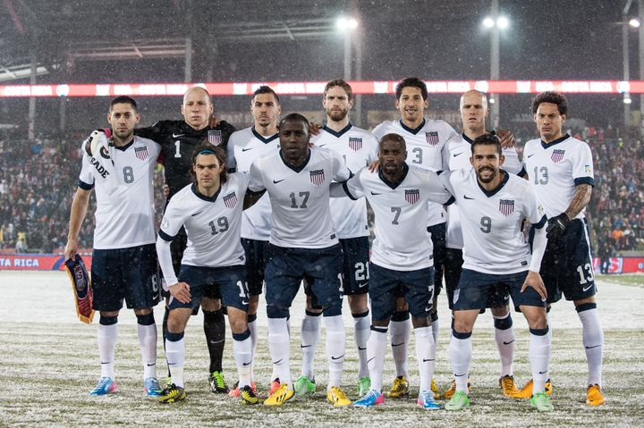 COMMERCE CITY, CO - MARCH 22:  The starting lineup of the United States national team, including Clint Dempsey, Brad Guzan, G