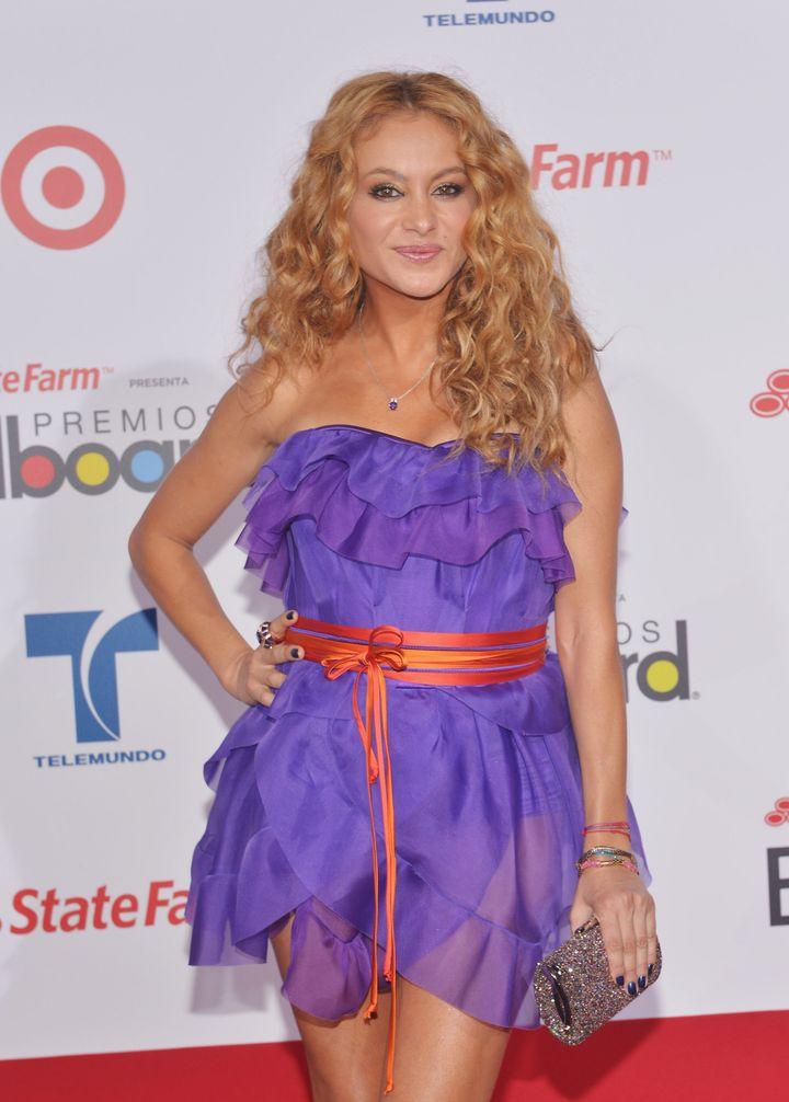 MIAMI, FL - APRIL 26:  Paulina Rubio arrives at the Billboard Latin Music Awards 2012  at Bank United Center on April 26, 201