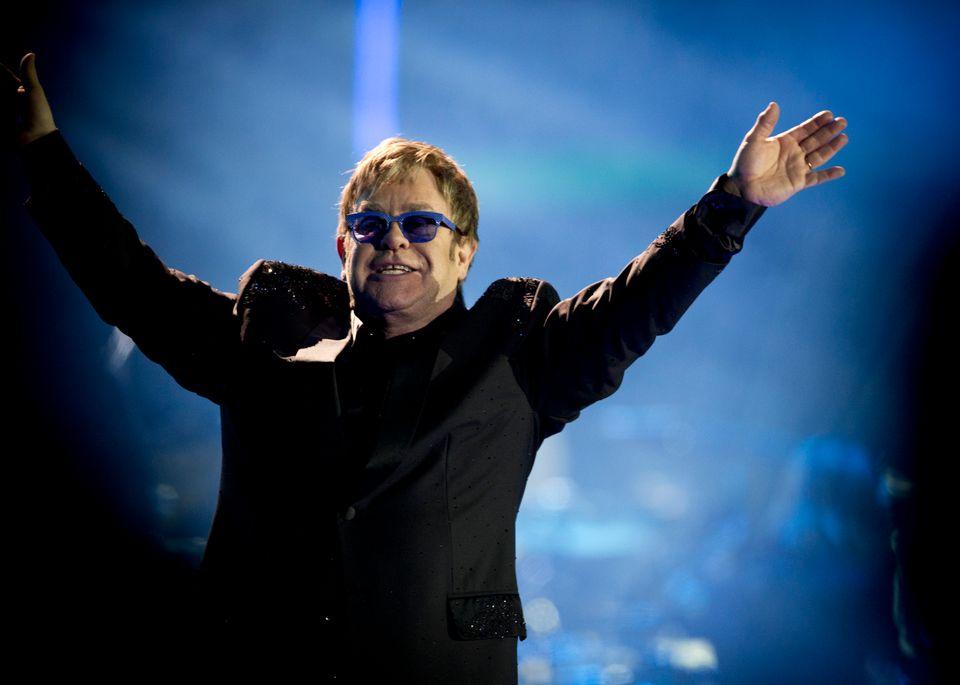 British singer Elton John performs  during the 54nd Vina del Mar International Song Festival on February 28, 2013 in Vina del