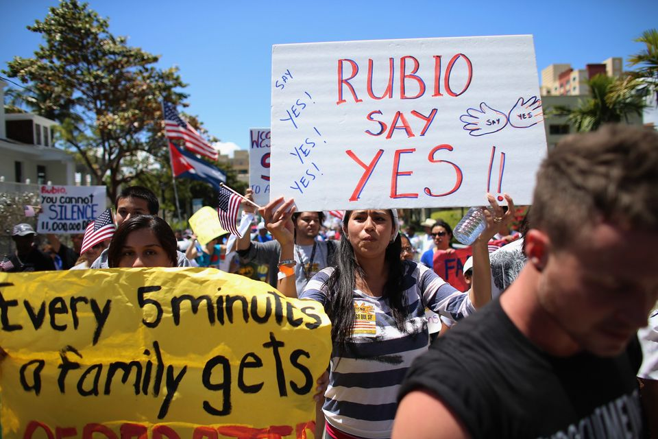 MIAMI, FL - APRIL 06:  People participate in a protest march that organizers said was an attempt to get the U.S. Congress to