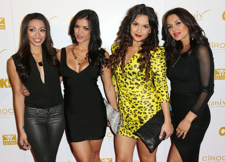 HOLLYWOOD, CA - FEBRUARY 07: (L-R) Presley Hernandez, Tiara Hernandez, Tahiti Hernandez, and Jaime Bayot of the musical group