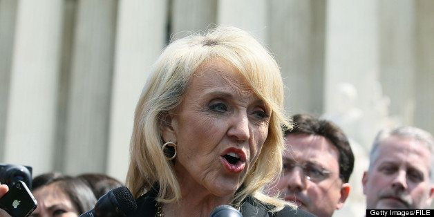 WASHINGTON, DC - APRIL 25:  Arizona Gov. Jan Brewer speaks to the media after arguments at the U.S. Supreme Court, on April 2