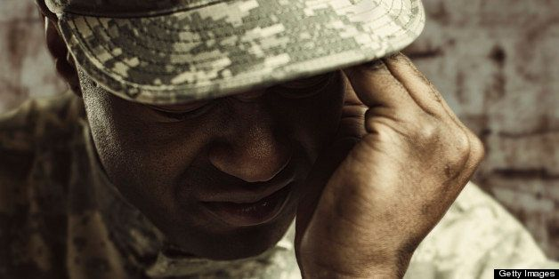 Struggling stressed soldier.