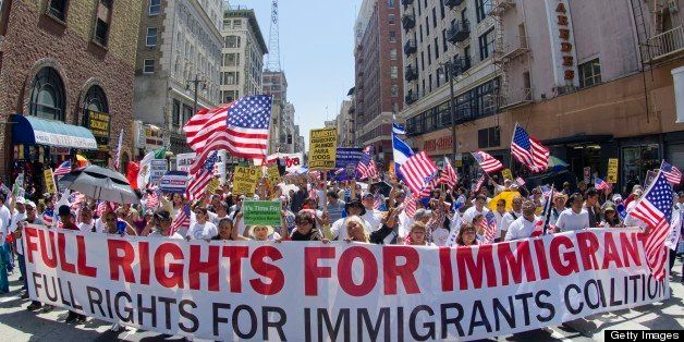 Demonstrators seeking  change in immigration policy march on May Day in Los Angeles, California, May 01, 2013. Some 2,000 dem