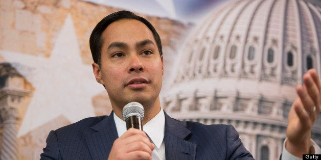 UNITED STATES - MARCH 05:  Julian Castro, mayor of San Antonio, and his brother Rep. Joaquin Castro, D-Texas, not pictured, p