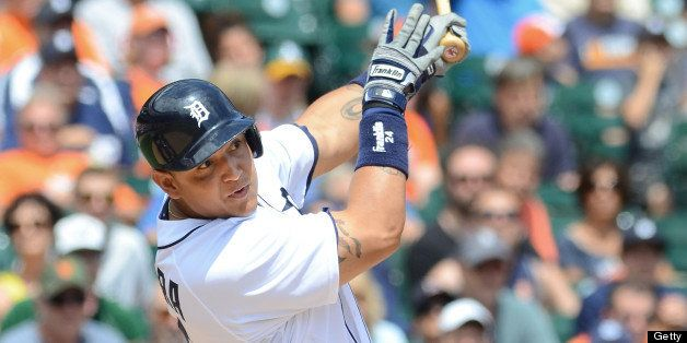 DETROIT, MI - JULY 11:  Miguel Cabrera #24 of the Detroit Tigers bats during the game against the Chicago White Sox at Comeri