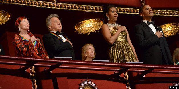 WASHINGTON, DC  - DECEMBER 2:   (L-R)  Ballerina Natalia Makarova, actor Dustin Hoffman, First Lady Michelle Obama and Presid