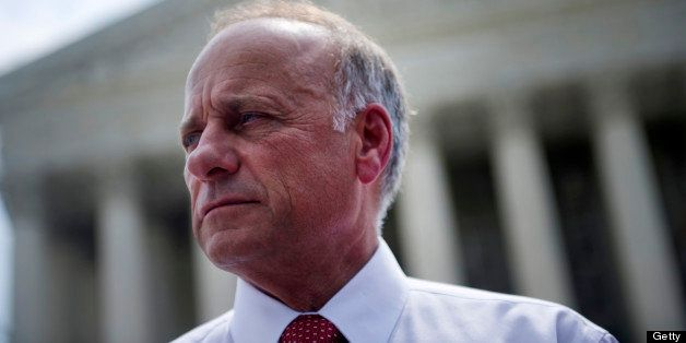 UNITED STATES - JUNE 28: Rep. Steve King, R-Iowa, after speaking to disappointed opponents of the Affordable Care Act. The Su