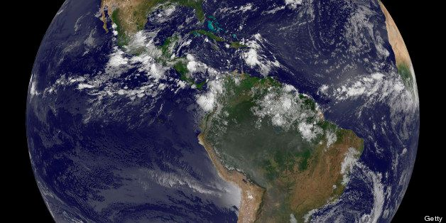Full Earth showing North and South America on August 17, 2010.