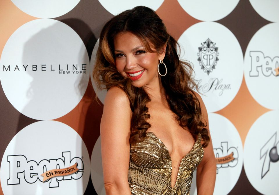 "Mexican singer Thalia arrives for People en Espanol's ""50 Most Beautiful"" gala, Tuesday, May 15, 2012 in New York. (AP Photo/"