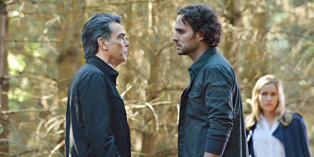 COVERT AFFAIRS -- 'I've Been Waiting For You' Episode 408 -- Pictured: (l-r) Peter Gallagher as Arthur Campbell, Manolo Cardo