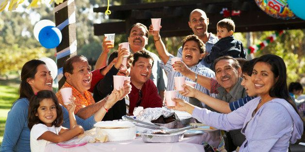 Extended family having party in park