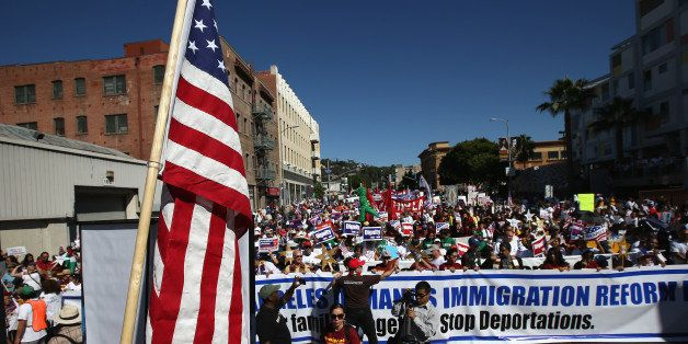 LOS ANGELES, CA - OCTOBER 05:  Thousands of immigration advocates gather for a National Day of Dignity and Respect march on O