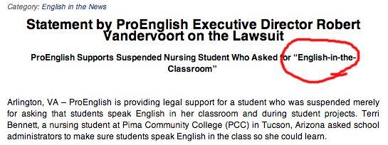 """We suggest revising to """"ProEnglish Supports Suspended Nursing Student Who Asked Her Classmates To Speak English."""""""