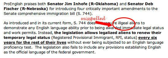 """When maligning people with the modifier """"illegal,"""" take care to run spell check."""