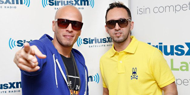 NEW YORK, NY - JUNE 06:  Alexis y Fido (L-R Fido and Alexis) visit the SiriusXM Studios on June 6, 2013 in New York City.  (P