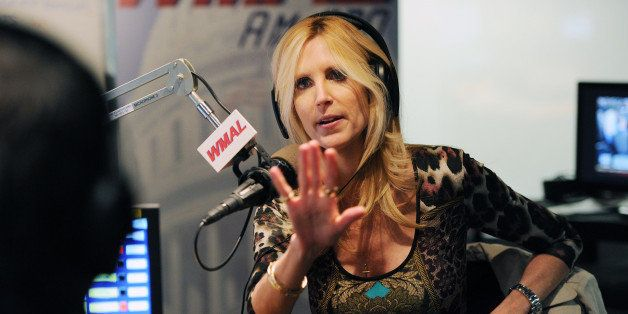 WASHINGTON, DC - OCTOBER 23:  Ann Coulter, center, talks with Chris Plante, left, during his WMAL radio program on Wednesday