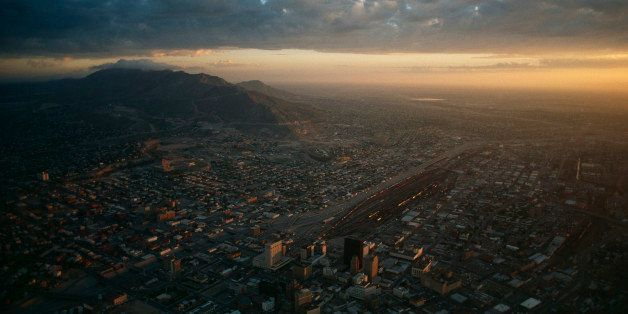 UNITED STATES - APRIL 01:  Low sunlight gleams on city of El Paso, El Paso, Texas  (Photo by Gordon Gahan/National Geographic