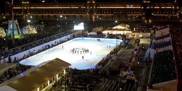 MEXICO CITY, MEXICO - DECEMBER 06:  A genereal view during the opening of a skating ice rink at Zocalo Square on December 6,